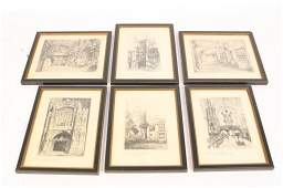 Set of 6 EDWARD J CHERRY Signed Pencil Etchings