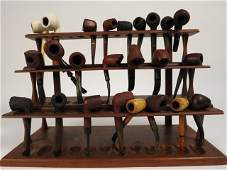 Collection of Pipes and Vintage Wooden Pipe Rack