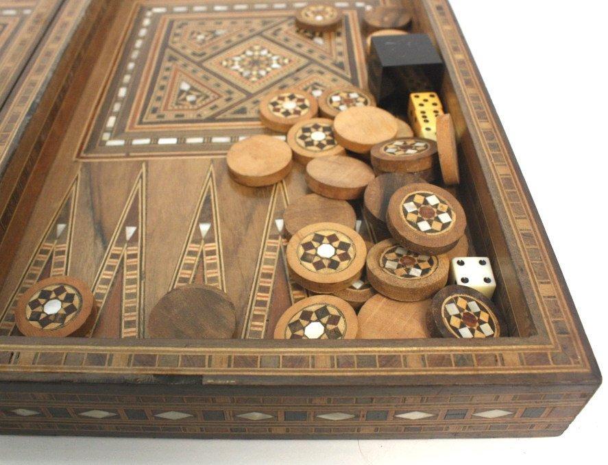 Vintage Turkish Mosaic Backgammon Set