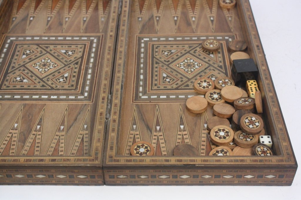 Vintage Turkish Mosaic Backgammon Set - 8