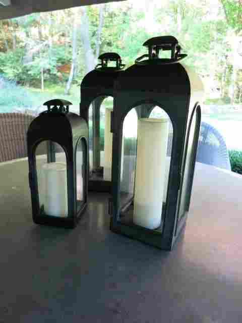 Three Small RESTORATION HARDWARE Zink Lanterns