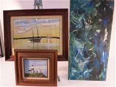 Lot of Three Nautical Paintings
