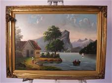 Antique American Primitive Folkart Painting