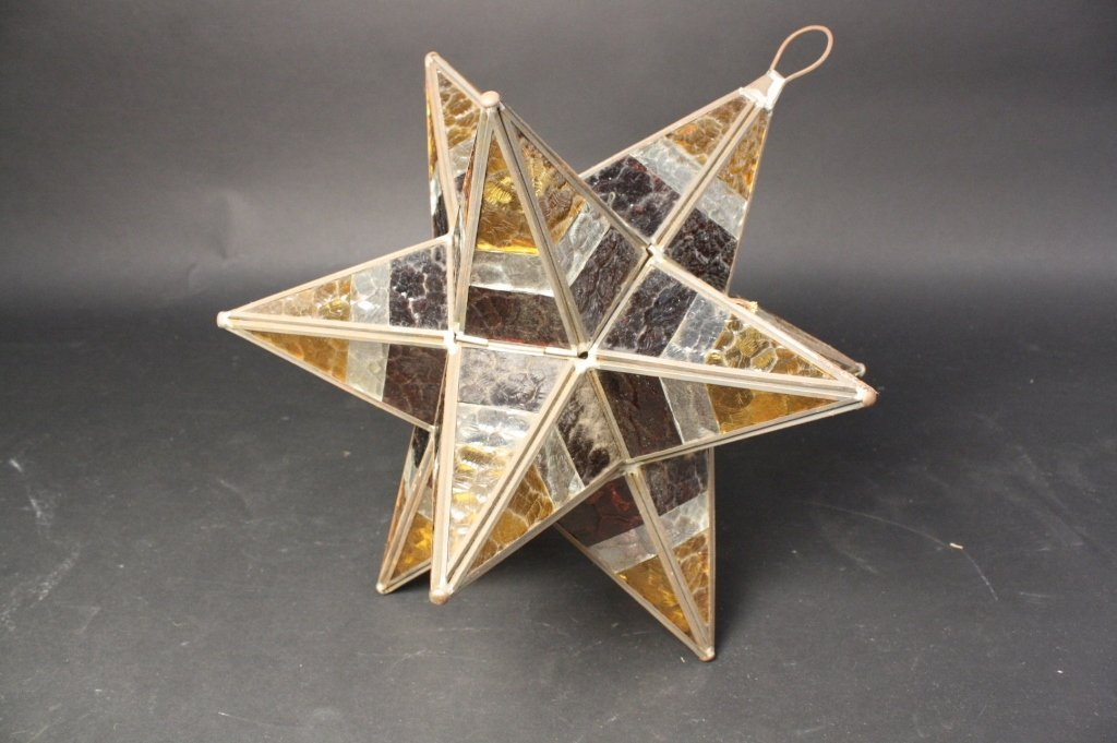 Hanging Stained Glass Star Ceiling Light Fixture
