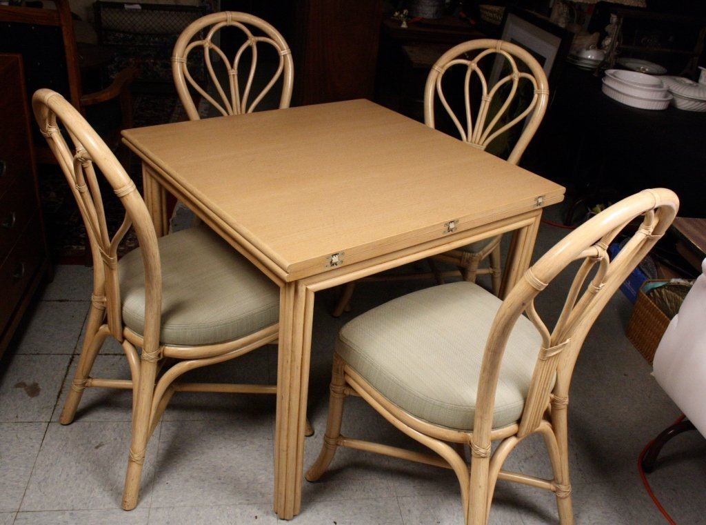 Elegant MCGUIRE Four Bamboo Chairs Expandable Card Table