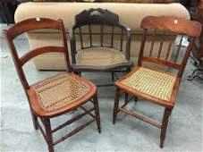 Group of 3 Vintage Cane seat chairs