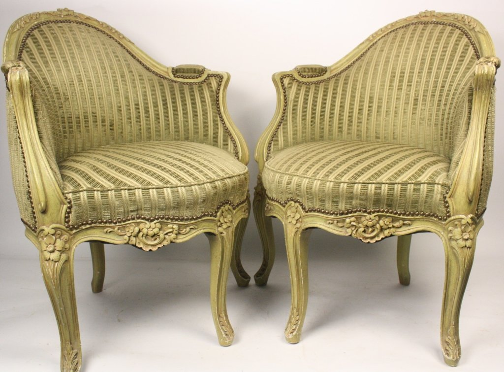 Pair Upholstered French Provencal Corner Armchairs