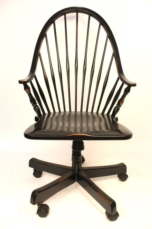 Windsor Style Wooden Rolling Desk Chair