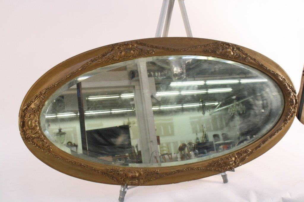 Vintage Gold Painted Oval Mirror