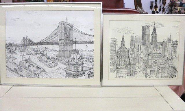 Vintage Ferrara Art Prints of New York c. 1980s