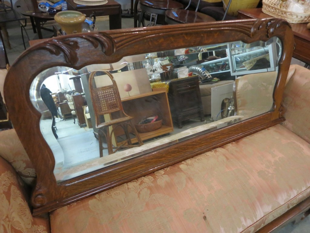 Wood Carved Bureau Mirror
