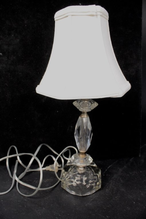 Crystal Boudair Lamp with White Satin Shade
