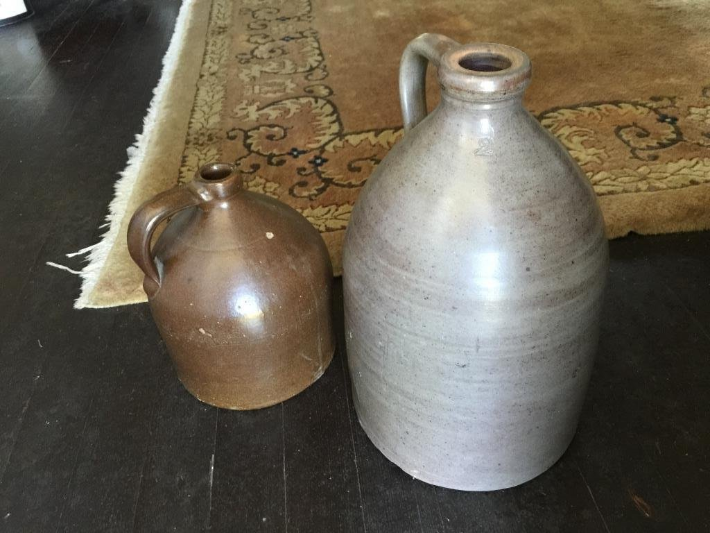 2 Antique Ceramic Pottery Jugs