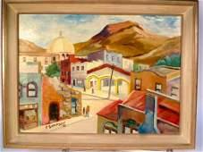 P.SAMPSON 1952 Oil on Canvas Village Scene.
