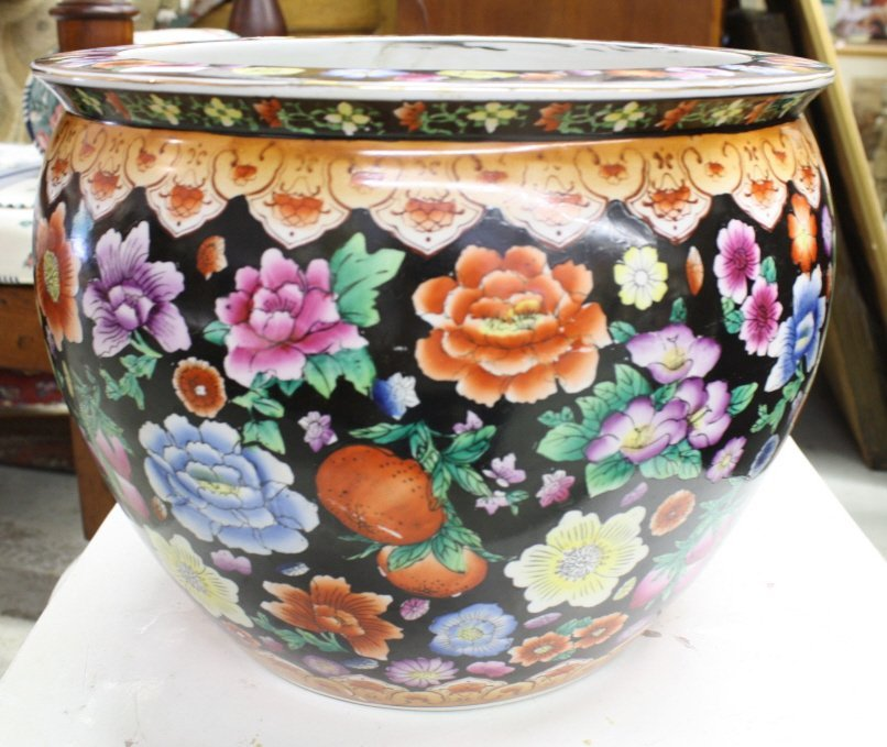 Chinese Painted Fish bowl Planter
