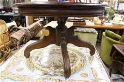 Vintage Round Walnut Pedestal Side Table