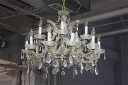 Large Vintage Dining Room Crystal Chandelier