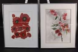 Two Red Floral Artworks Framed