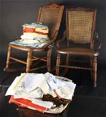 Set of Vintage Childrens Rockers and Table Linens