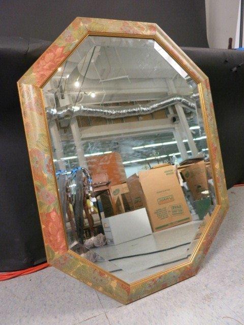 Oval Octagon Framed Beveled Mirror Floral Motif