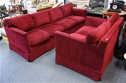 Set of Cranberry Upholstered Sofas