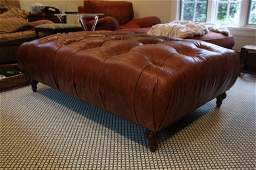 Tufted Brown Leather Ottoman Table