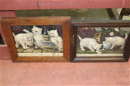 Pair framed Currier and Ives Kitten prints