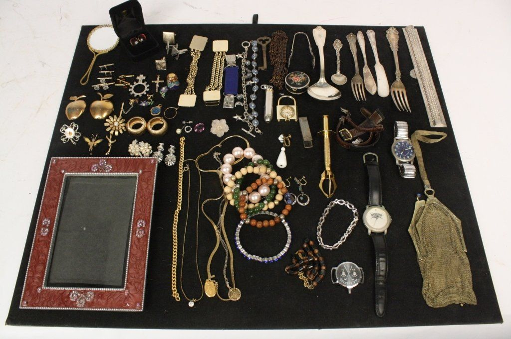 Vintage tray finds jewelry watches sterling silver