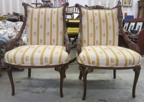 Pair Ornately Carved And Upholstered Side Chairs