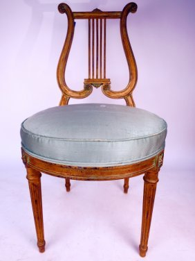 Antique Harp Back Gold Leafed Wood Chair