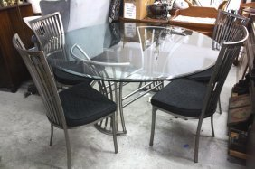 Arthur Umanoff Steel Glass Table And Four Chairs