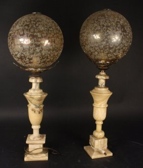 Pair Of Carved Marble Lamps With Globe Lights