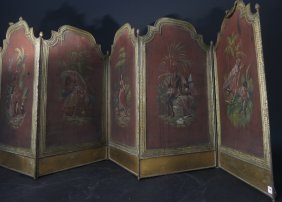 Antique Five Panel Fire Place Screen