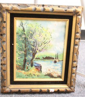 Framed Corot Painting Of Landscape On Metal Plate