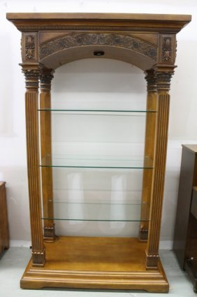 Ornate Italian Carved Wood And Glass Display Shelf