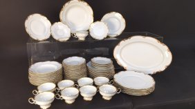 Partial Dinner Service White And Gold Porcelain