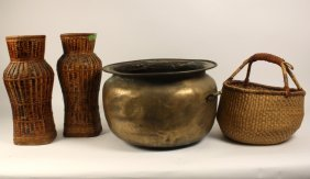 Antique Brass Pot And Wicker Baskets.