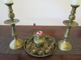 Turkish Candlesticks And Tea Tray