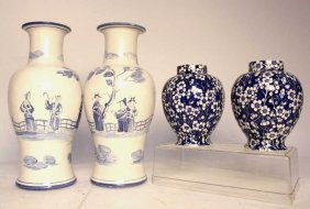 2 Pairs Blue And White Asian Vases