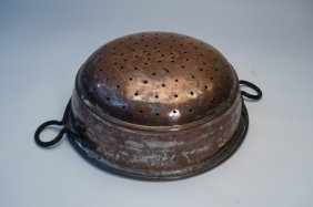 Vintage Copper Strainer Hand Forged Double Handles
