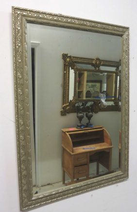 Heavy Carved Silver Leafed Wood Framed Mirror