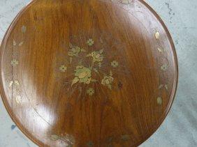 Wood Metal Inlay Pedestal Side Table