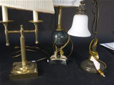 3 Vintage Lamps Brass Marble Iron