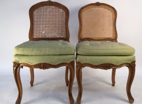 Pair Antique Carved Wood Cane Side Chairs