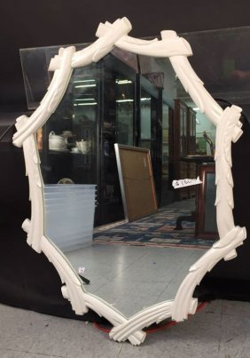 Painted White Wood Bois Mirror