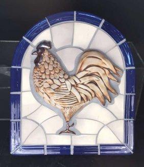 Vintage Tile Mosaic Rooster Art
