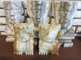 Group Lot Stone Carved Bookends