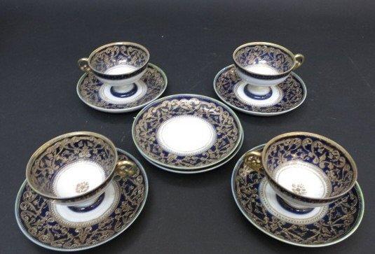 Antique set English Flow Blue Tea Cups c. 19th c.