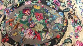 Group Antique Vintage Hooked Area Rugs