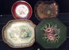 3 Tole Platters And Porcelain Plate
